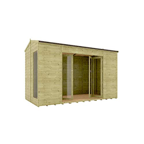 12 x 6 Pressure Treated Cannes Summerhouse Tongue & Groove Shiplap Cladding Construction Wide Double French Door 3.65m x 1.82m