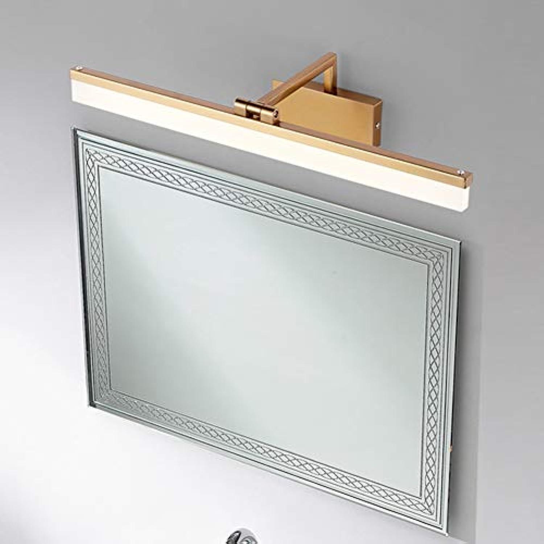 SSLW Spiegelleuchten LED Badezimmer Wohnzimmer Schlafzimmer Einfache wasserdichte Anti-Fog Retro Gold Spiegelleuchte,warm,62cm
