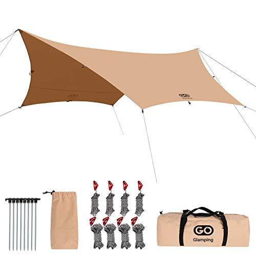 Go Glamping タープ TC ヘキサタープ ポリコットン 4.2x4.1m 耐水+焚き火可+防カビ加工済 遮光 遮熱 キャンプ テント UVカット コンパクト 収納袋付き (三色選) (カーキ)
