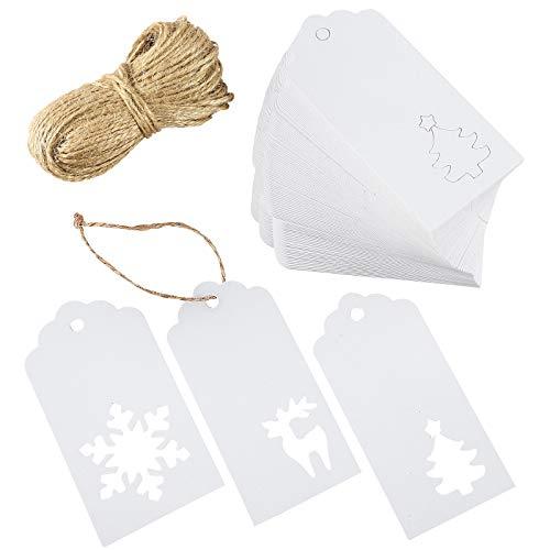 Aneco 100 Stück Weihnachtspapieranhänger Kraftpapier Weihnachten Hängeschilder Weihnachtsbaum Schneeflocke Rentier Design mit 20 Meter Schnur für Weihnachtsgeschenke, DIY Kunstbedarf