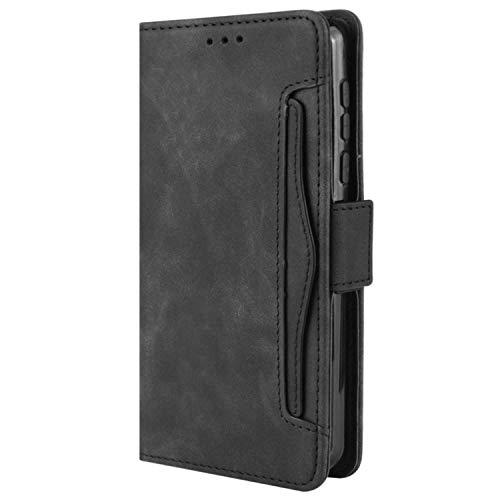 HualuBro Handyhülle für Samsung Galaxy Z Fold2 5G Hülle Leder, Flip Hülle Cover Stoßfest Klapphülle Handytasche Schutzhülle für Samsung Galaxy Z Fold 2 5G Tasche (Schwarz)