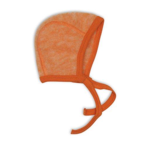 Cosilana Baby Häubchen / Mütze, Größe 50/56, Farbe Safran-Orange Melange, Wollfleece 100% Schurwolle kbT
