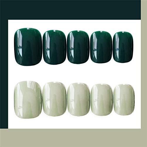 Mini été mignon clair noir vert contraste couleur faux ongles 24 français taille courte faux ongles japonais mariées plein ongles conseils