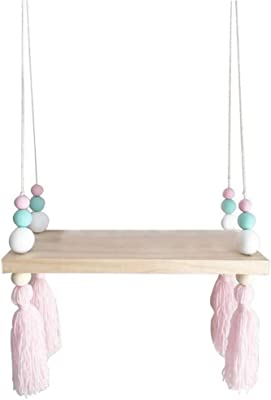 shadiao Nordic Style Wooden Beads Wall-Mounted Shelves Swing Rope Floating Shelves Display Storage Rack