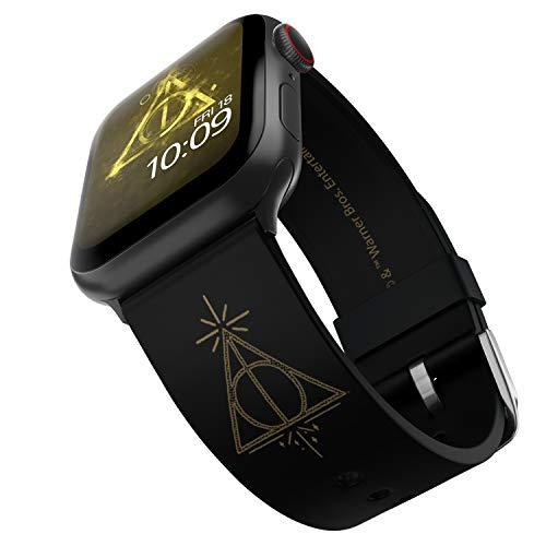 Harry Potter - Correa para reloj inteligente de las Reliquias de la Muerte - Licencia oficial, compatible con Apple Watch (no incluido) - Se adapta a 38 mm, 40 mm, 42 mm y 44 mm