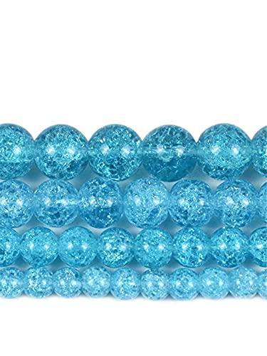 Natural azul oscuro agrietado cristal redondo cuentas de piedra suelta para hacer joyas de 15 pulgadas/Strand 6/8/10/12 mm azul oscuro 12mm aprox 30beads