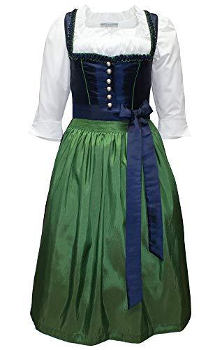 Kaiser Franz Josef Dirndl Trachten-Kleid Trachtenkleid Balkonett Dirndlkleid TAFT blau grün handgearbeitete Borte Festtracht Marineblau mit...