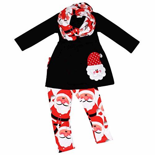 Unique Baby Girls 3 Piece Christmas Santa Claus Legging Set (6) Red