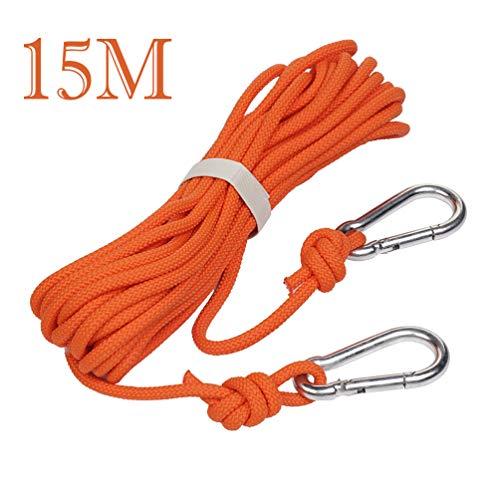 TIMLand Kletterseil Sicherheitsseil mit Haken Hochfestes Seil 15M (49ft) Durchmesser 6mm 5KN Outdoor-Kletterseil Rettungsleine Versicherung Seil Feld Überlebensausrüstung liefert.