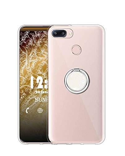 Sunrive Kompatibel mit Nubia Z11 Mini Hülle Silikon, Transparent Handyhülle 360°drehbarer Ständer Ring Fingerhalter Fingerhalterung Schutzhülle Etui Hülle(Weiß) MEHRWEG