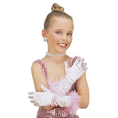 NET TOYS Rose Enfants Gants Princesse Rose Princesse Accessoire Mardi Gras Carnaval Gants pour Enfant Main Gant