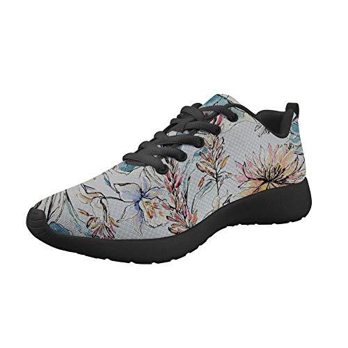 Amzbeauty Zapatillas deportivas de malla para correr para mujer con ajuste ligero, brillante, para deportes al aire libre, transpirable, estampado de flores 2-8UK, color Beige, talla 38 EU