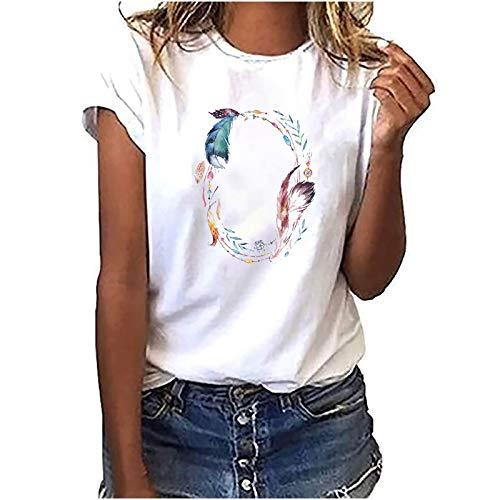 Damen Sommer Tshirt Vintage Drucken Oberteile Sweatshirt Kurzarm Rundhals Blusen Basic Loose Fit Laufshirt Sportshirt Frauen Casual Tee Tops Retro Muster Shirt Hemd Teenager Mädchen