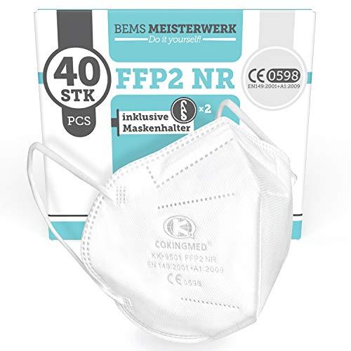 FFP2 Maske CE Zertifiziert - 40x FFP2 Masken (NR) - Inkl. 2X Clip für höchsten 5-lagige Premium Atemschutzmaske FFP2 maximale Sicherheit - Mundschutz FFP2 BEMS Meisterwerk