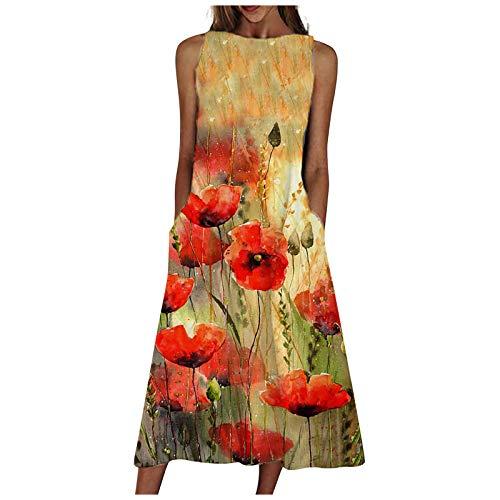 Yowablo Kleid Frauen Mode lose ärmellose Tasche langes Kleid O-Neck Print Retro-Kleid (S,2rot)