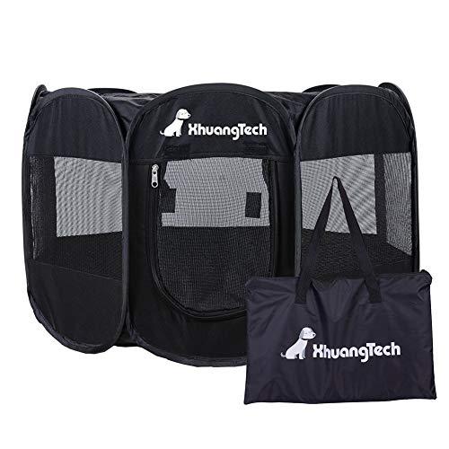 XianghuangTechnology Laufstall für Hunde und Katzen, weicher Stoff, tragbar, faltbar, für drinnen und draußen, Schwarz