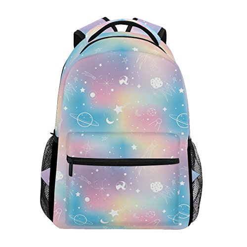 ZOEO School Backpacks Unicorn Rainbow Planet 3th 4th 5th Grade Travel Daypack Bag Purse for Boys Girls
