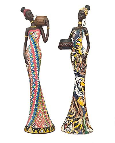 Escultura de Africana Dama Decorativo Salon Casa Accesorios Adornos Figura Femenina Tribal Resina Ornamental Interior para Sala de Estar Dormitorio Estante de Estudio 2 pcs, C