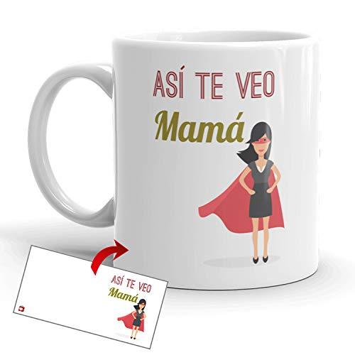 Kembilove Taza Desayuno para Madres – Tazas Originales Graciosas con Mensaje Así te veo mamá Supermamá – Taza de Café para regalar el día de la madre – Taza de 350 ml