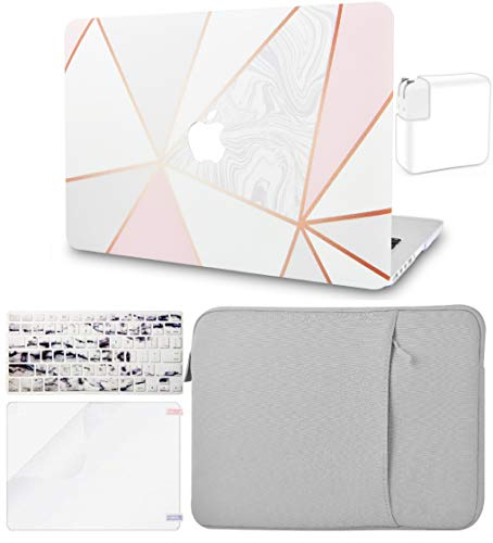 KECC Laptop Case for MacBook Air 13' Retina (2020, Touch ID) w/Keyboard Cover + Sleeve + Screen Protector + Charger Case (5 in 1 Bundle) Plastic Hard Shell Case A2179(White Marble with Pink Grey 2)