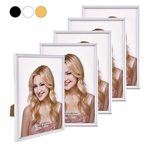 Alishomtll Bilderrahmen DIN A4 Bilderrahmen 5er Set, 21 x 29,7 cm, Fotorahmen Kunststoffrahmen Weiß Set für Mehrere Bilder Fotos