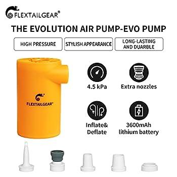 FLEXTAILGEAR Evo Pompe à air électrique avec Batterie Rechargeable 3800mAh Mini Pompe à Matelas d'air Portable 4.5 KPa Haute Pression pour Bateau, Piscine Gonflable, Matelas de lit, gonfleur, Camping