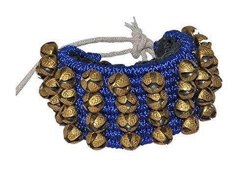 Kathak Ghungroo - Par de accesorios de danza clásicos indios hechos a mano (4 líneas, 14 números), color azul