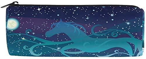Trousse Hiver Ciel Lune Étoile Cheval Fermeture Éclair Trousse Trousse Trousse Trousse Pour Adolescents Filles Garçons Voyage Maquillage Pour Femmes