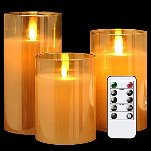 LED Candle Light, Electric Candle Diameter 3 inches, Height 4 inches, 5 inches, 6 inches, Remote Control, Timing Function, Christmas Party Decoration Atmosphere Light (Three-Piece Set)