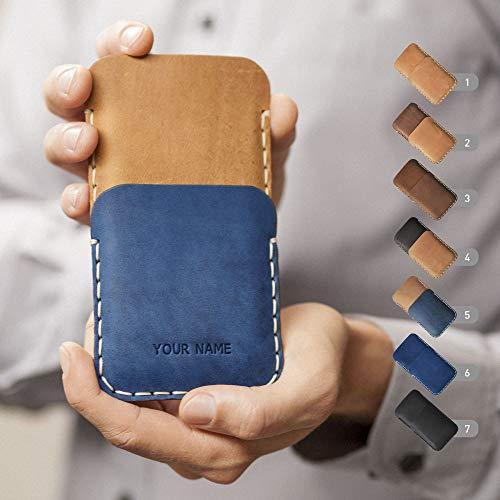 Leder Tasche für Asus Handy, Hülle geprägt mit Wunschnamen, personalisiertes Geschenk