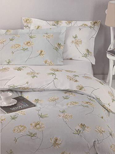 Juego de sábanas de franela 100 % puro algodón para cama de matrimonio de dos plazas Mirabello encima + inferior + 2 fundas de almohada