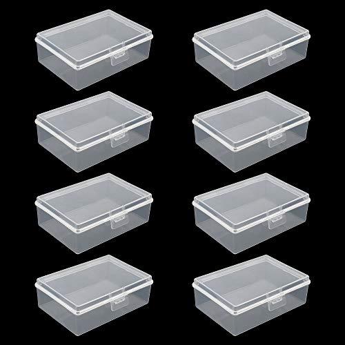 PLCatis 8 Piezas Caja Pequeña Transparente con Tapa 93 x 66 x 32mm Mini Caja Plastica Pequeña para Artículos Diminutos Joyas Tarjetas