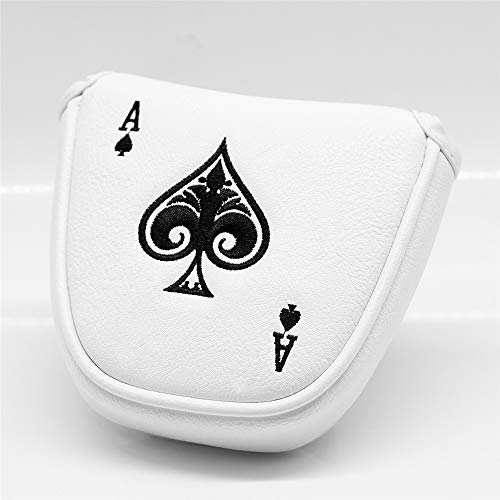barudan golf Poker Ace White Leather Mallet Putter Cover Headcover Magnetic Club Protector fits for Odyssey 2ball Style Putters, RH LH