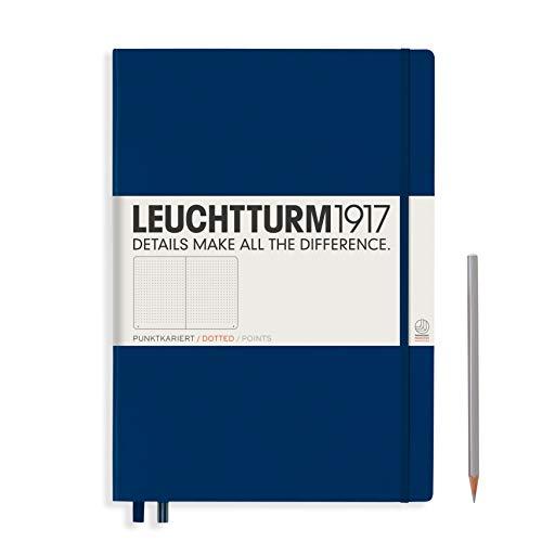 LEUCHTTURM1917 359869 Notizbuch Master (A4+) Hardcover, 233 nummerierte Seiten, Marine, dotted
