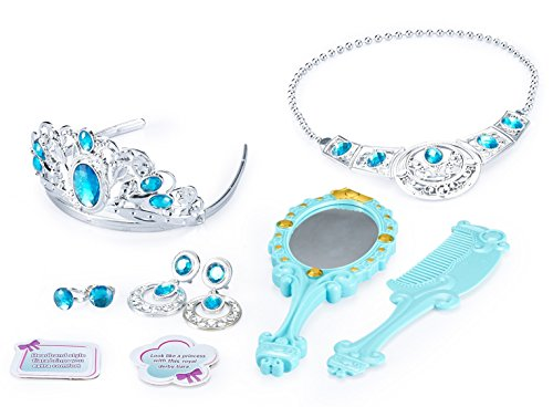 JaxoJoy Princess Beauty Set – Play Pretend Dress Up Jewelry Gift Set for Girls Includes Princess Tiara, Necklace, Earrings, Rings, Comb & Mirror – Recommended for Ages 3+