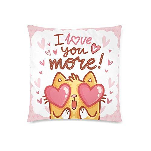 HZLM Funda de cojín con diseño de gato de dibujos animados con texto en inglés 'I Love You' con texto en inglés 'I Love You More ', funda de almohada decorativa para decoración del hogar