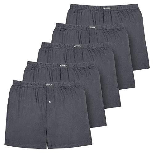ROYALZ 5er Pack Boxershorts für Herren weich Baumwolle Locker American Style Basic Men Unterhosen Weit klassisch Weich 5 Set Männer Unterwäsche, Farbe:Dunkelgrau, Größe:L