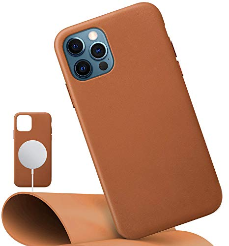 LONLI Classic | Genuine Nappa Leather Case | Compatible with MagSafe - for iPhone 12 and 12 Pro - (6.1 inch, Caramel)