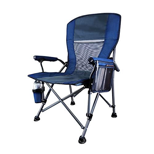 JLJLJL Silla Plegable de Acampada de rockero de Estilo Libre al Aire Libre, Espalda portátil de Camiseta con Bolsillo para Taza y reposabrazos Duros, soporta 250kg Blue
