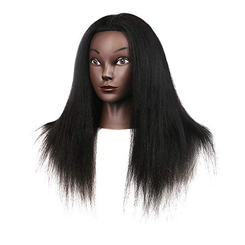 Aushow Cosmetology Mannequin Head With Human hair 16 inch Real Afro 100% Human Hair Hairdresser Mannequin Manikin Traininghead and Free Clamp Holder (16inch)