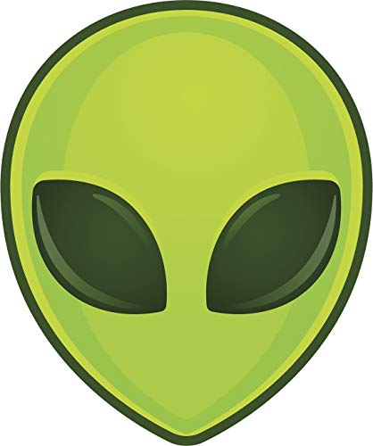 EW Designs Cool Simple Green Alien Head Cartoon Emoji Vinyl Decal Bumper Sticker (4' Tall)