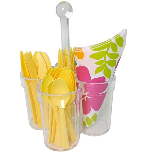 Caddy for Silverware Utensils Carrier Acrylic- Forks Spoons Knives Napkin Parties BBQ Picnic