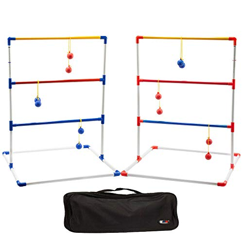 GSE Games & Sports Expert Premium Ladder Ball Toss Outdoor Lawn Game Set with Ladderball Bolas & Carrying Case (Recreational Plastic Set)