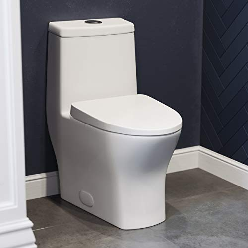 "Swiss Madison SM-1T257 Sublime II Compact 24"" Length One Piece Toilet Dual Flush 0.8/1.28 GPF with Side Holes"