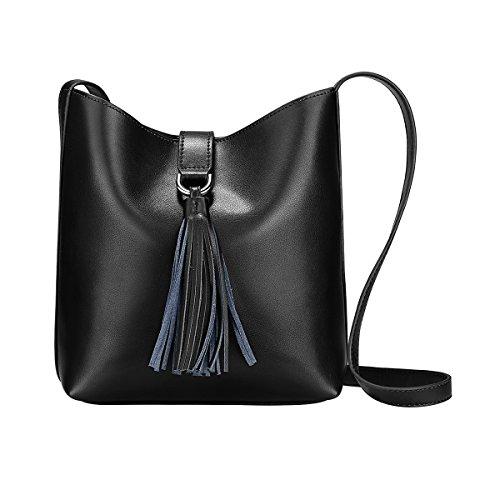 s zone shoulder bags S-ZONE Women Small Cowhide Leather Shoulder Bag Crossbody Bag Ladies Bucket Tote
