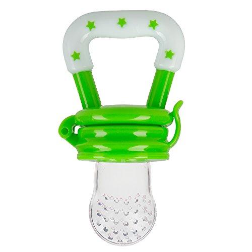 Fruchtsauger Schnuller für Babys - Obst und Gemüse Baby Schnuller zum Zahnen aus Silikon (grün)