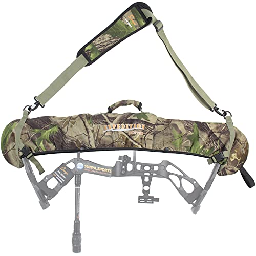 SUNYA Neoprene Compound Bow Sling, Silent Hunting or Fast Movement 2 Carrying Modes Switchable. Padded Shoulder Sling Removable & Adjustable. Camouflage Fabric. (Camo with Green Strap)