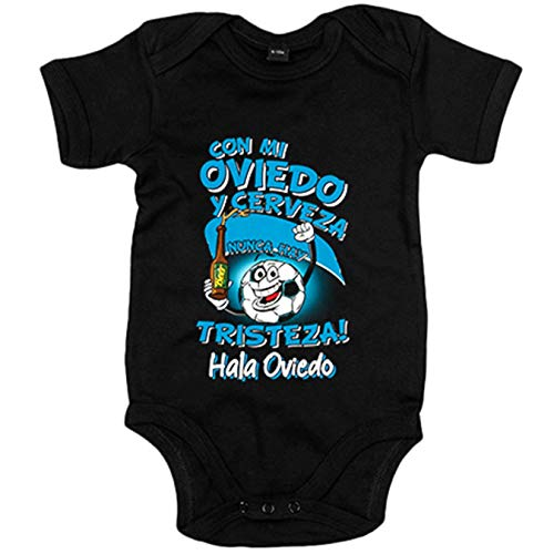 Body bebé frase con mi Oviedo y cerveza nunca hay tristeza fútbol - Negro, 6-12 meses