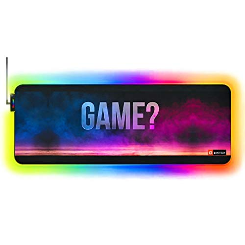 Live Tech Gaming Mouse Pad Large Extended RGB, Non-Slip Rubber Base,Soft Glowing Multiple LED Modes Gaming Desk Keyboard Pad Mat (XXL)