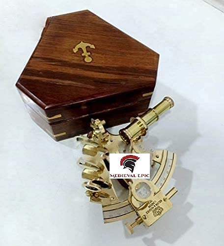 Kelvin & Hughes London Solid Gift Brass Sextant W/Box